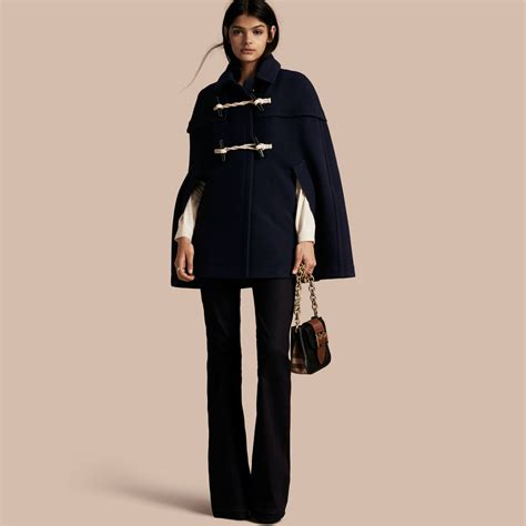 wool cashmere blend military cape coat burberry burberry wool cashmere duffle cape coat navy in blue navy