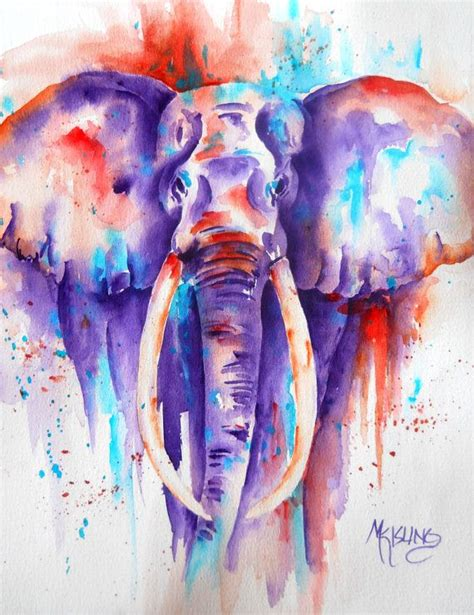 watercolor tattoo elephant bold colorful elephant watercolor pianting purple orange