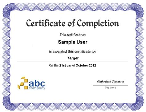photo sle of certificate of completion images