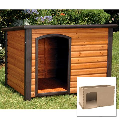 clearance dog houses precision outback log cabin dog house and insulation kit dog houses at hayneedle