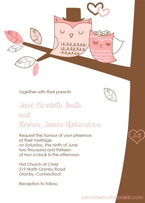 Free Pdf Download Wedding Owls Invitation With Cute Bride And Groom Owls Template Is Very And Invite Template