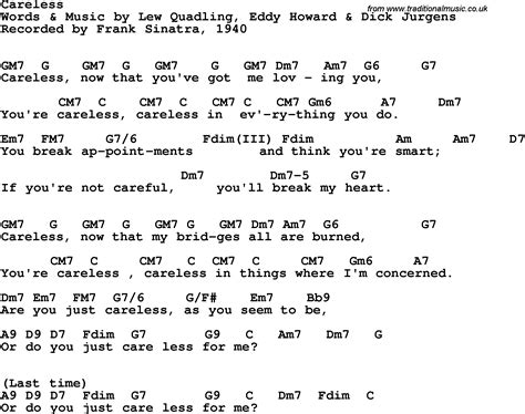 lyrics frank sinatra song lyrics with guitar chords for careless frank