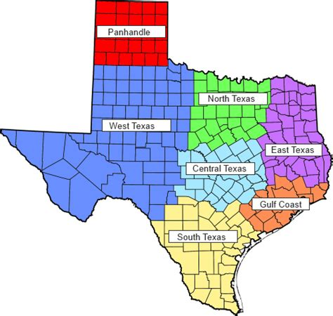 regions of texas map texas regions