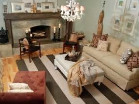 genevieve gorder living room taupe striped rug eclectic living room