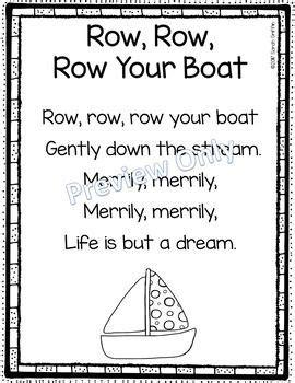 row your boat funny lyrics row row row your boat printable nursery rhyme poem for