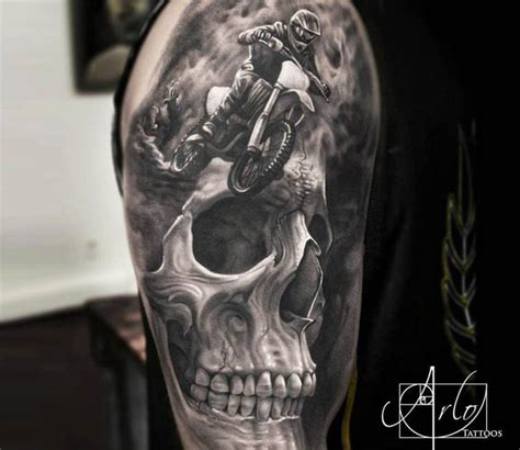 dirt bike tattoos motocross skull by arlo tattoos post 15960