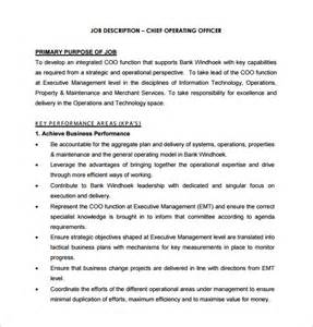 Operating Description by 10 Chief Operating Officer Description Templates Free Sle Exle Format