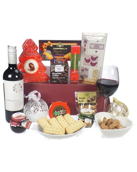 christmas wine and treats gift basket next day delivery