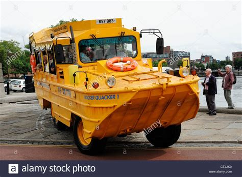 boat tour liverpool liverpool wacker quacker yellow boat tour vehicle stock
