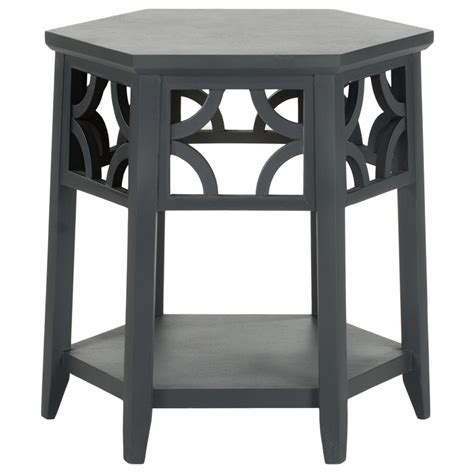 gray accent table shop safavieh matthew charcoal gray end table at lowes com