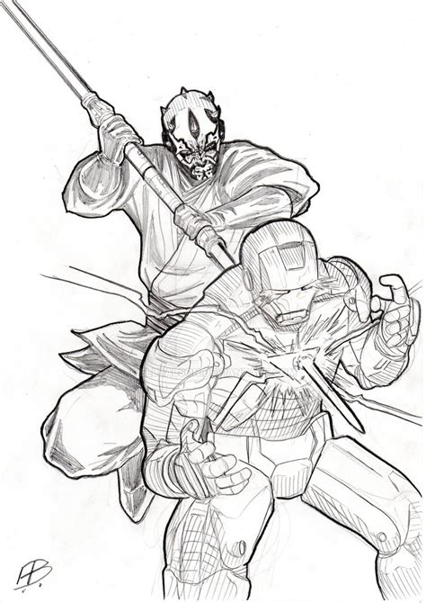 coloring pages of darth maul darth maul vs iron by ellbalson on deviantart