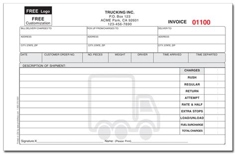delivery invoice template custom invoice forms printit4less