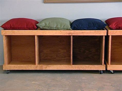 how to make a wooden bench with storage how to build a rolling storage bench hgtv