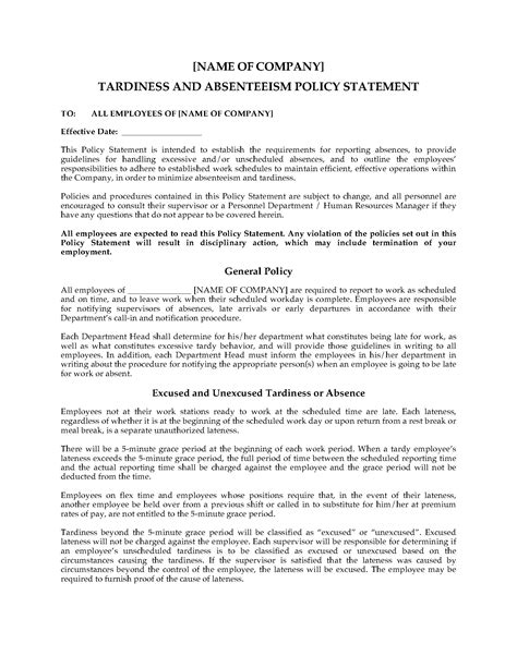 absenteeism policy template tardiness and absenteeism related keywords tardiness and