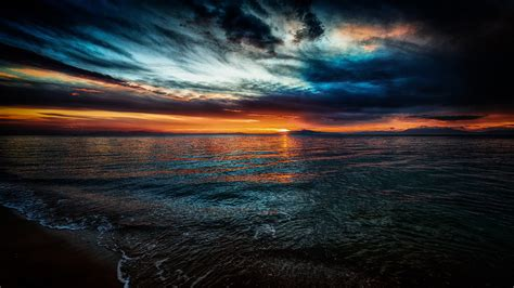 dark sky sunset hd wallpaper background image