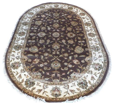 oval rugs 6x9 6x9 oval knotted brown wool silk tabriz rug traditional area rugs by rug