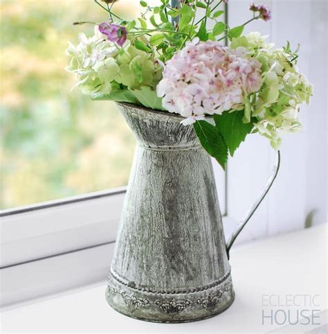 Metal Vases For Flowers details about rustic jug churn zinc tin metal flower