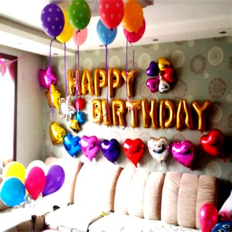 Birthday Decoration Ideas At Home With Balloons Birthday Decorations At Home Decoration Ideas For Adults Simple Homelk