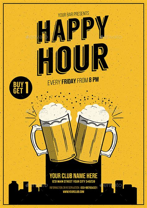 happy hour sign template happy hour promotion flyer by guuver graphicriver