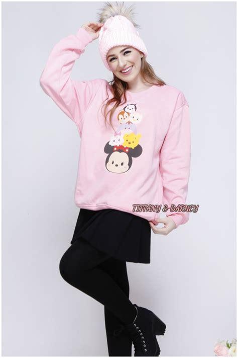 Topi Import Stock Pink white tsum tsum sweater sweater tsum tsum pattern