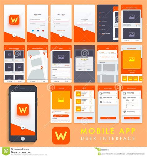 restaurant app template mobile app user interface template kit stock illustration