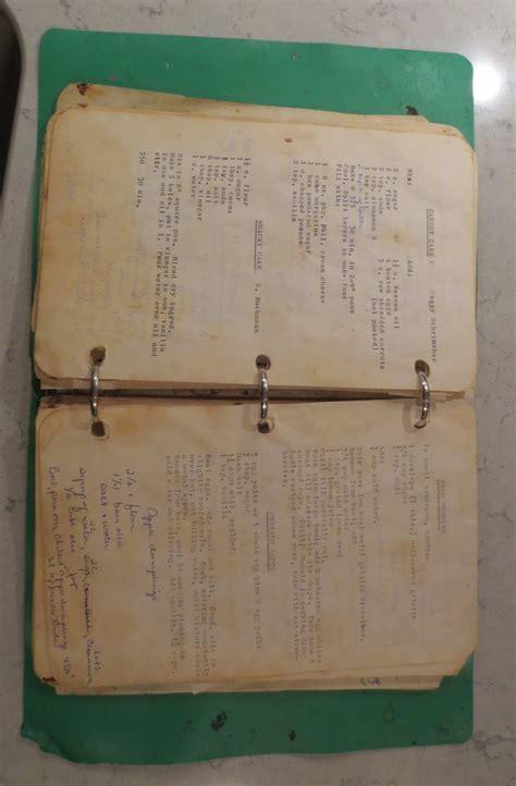 Handmade Cookbook - recipe book open to carrot cake arnaud s language