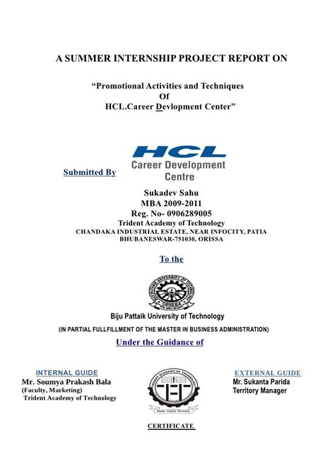 Hcl Summer Internship 2015 For Mba by Sonu Project Prepared By Sam