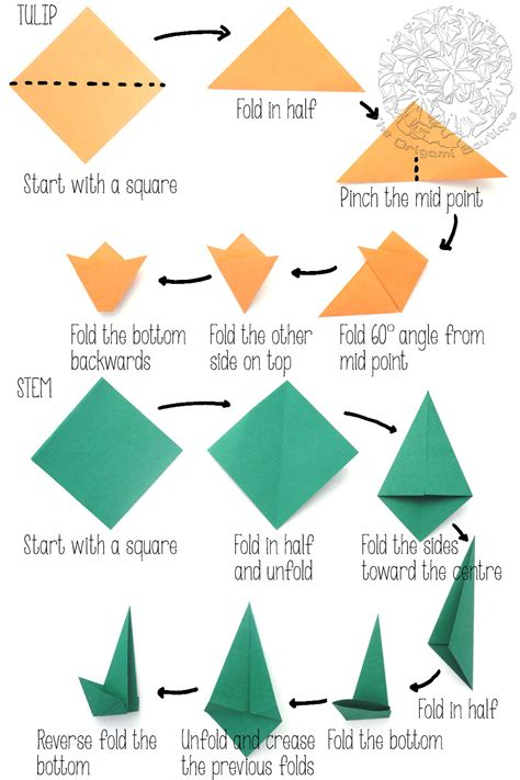 With Stem Origami - origami how to make an origami tulip flower stem