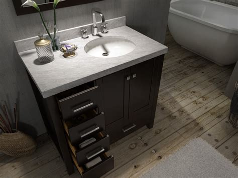 Bathroom Vanity With Offset Sink Ariel A037s Esp R Cambridge 37 Inch Single Sink Vanity Set W Right Offset Sink In Espresso