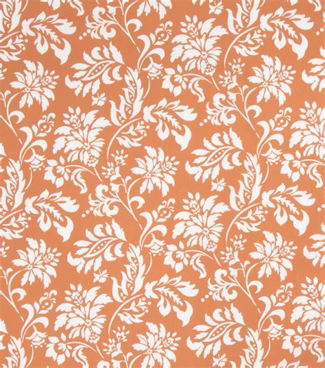 home decor print fabric scarf tangerine floral foliage