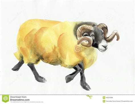 new year goat ram ram watercolor painting royalty free stock image
