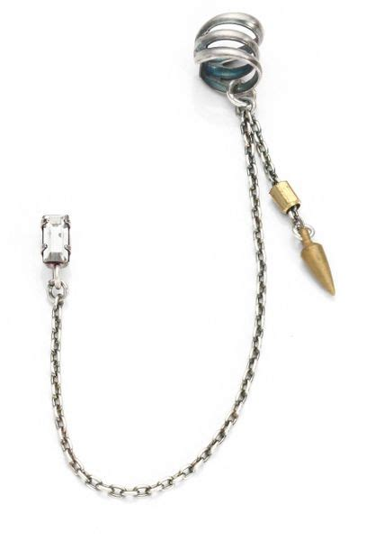 spike ear cuff chain earring bing bang spike chain cuff earring in silver silver gold