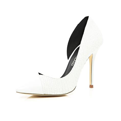 river island white asymmetric pointed court shoes in white