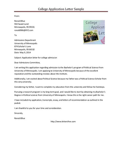 College Application Letter Exles Sle College Application Letter