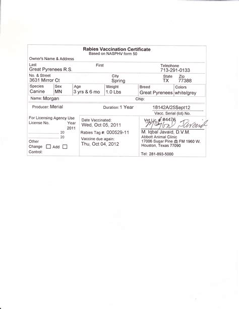 Morgan S Web Page Rabies Vaccination Certificate Template