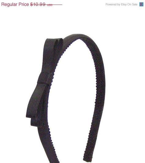 Black Simple Bow black bow headband big satin headband black w small bow
