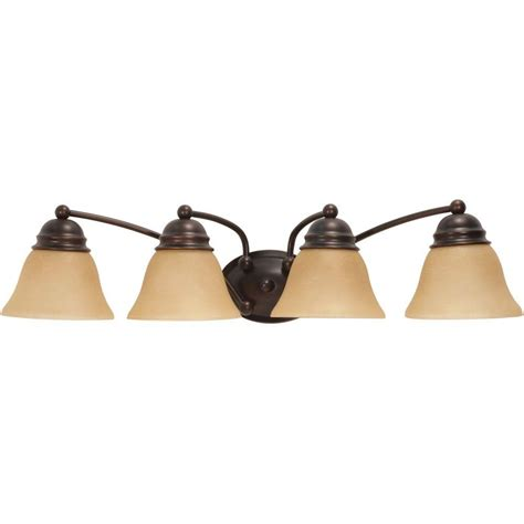 Glomar 3 Light Mahogany Bronze Vanity Light With Chagne Linen Washed Glass Hd 1265 The Home Glomar Nuwa 4 Light Mahogany Bronze Bath Vanity With Chagne Linen Washed Glass Hd 1273 The