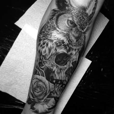 rose and owl tattoo 58 best skull owl tattoos collection