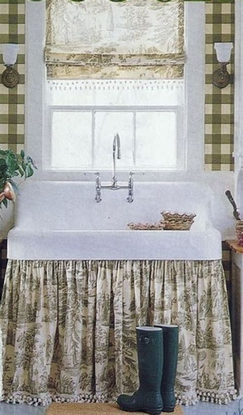 Kitchen ~ farmhouse sink with fabric apron to hide pipes