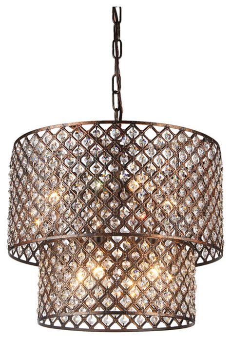 Contemporary Drum Chandeliers Edvivi Llc 2 Tier 8 Light Chandelier With Lattice Drum Shade Antique Copper