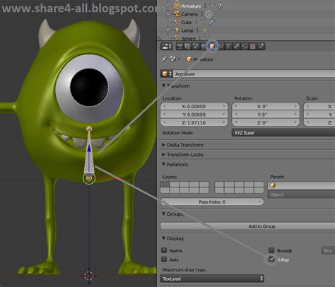 cara membuat id card monster university rigging karakter blender 3d mike monster university bagian