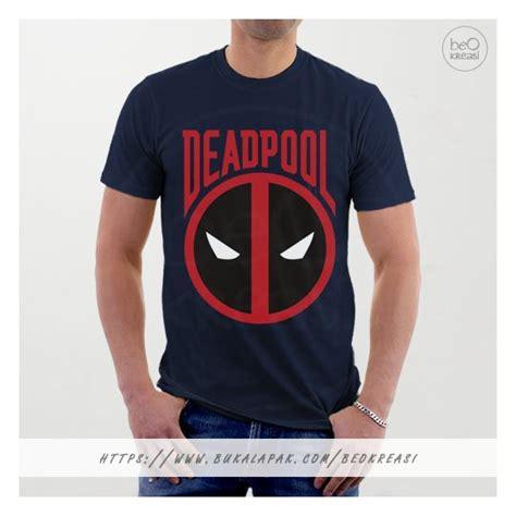 Kaos Dead Pool jual beli kaos t shirt biru navy deadpool emblem logo