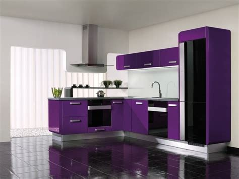 meuble de cuisine ind駱endant cuisine couleur aubergine inspirations violettes en 71 id 233 es