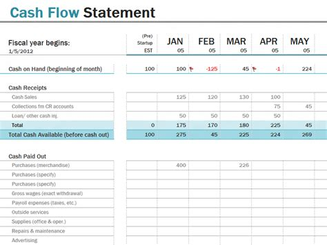 cash flow statement template for excel statement of cash flows