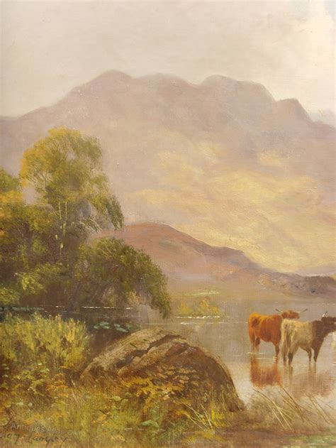 Painting In by Antiques Atlas Highland Cattle Painting By William