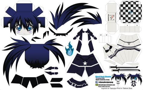 Black Rock Shooter Papercraft - black rock shooter tv version jcg 015b by