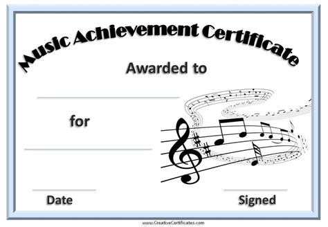 templates for musicians certificate template free and customizable