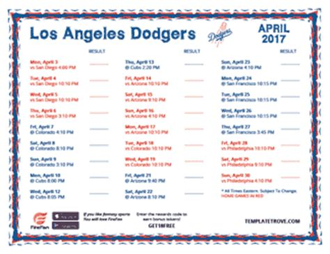printable 2017 los angeles dodgers schedule