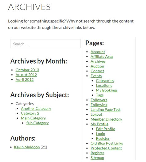 archive page template how to create a archives page