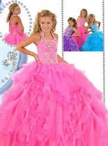 beauty puffy pink organza ruffle beaded little girls
